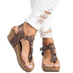c3732a0c3c15 Minetom Sandales Compensées Femme Sandales Talon Compensé Chaussures Tongs  Sandales Talons Hauts Bout Ouvert Plate-