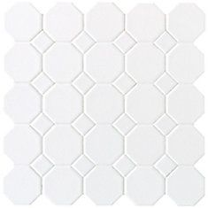 Daltile Matte White 12 in. x 12 in. x 6 mm Ceramic Octagon Dot Mosaic Wall Tile sq. / - The Home Depot Shower Floor Tile, Best Floor Tiles, Bathroom Floor Tiles, Bathroom Sinks, Basement Bathroom, Bathroom Shelves, Bathroom Cabinets, White Bathroom, Ceramic Mosaic Tile