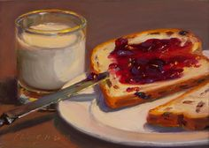 Wang Fine Art: still life with milk, bread and raspberry jam, 5x7 in.