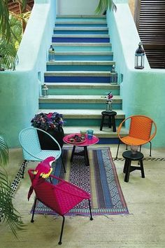 Stairs and the neon coloured chairs for outdoors.