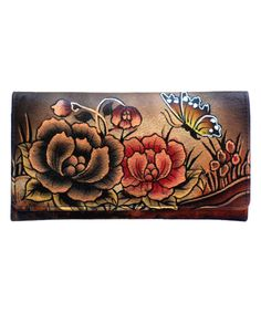 Brown Floral Hand-Painted Leather Wallet by Biacci #zulily #zulilyfinds