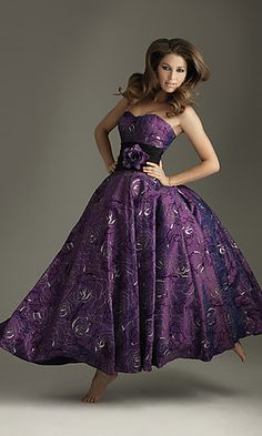 long purple ball gown