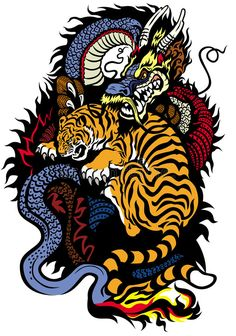 Illustration about Dragon and tiger fighting tattoo illustration. Illustration of nature, balance, magic - 35090941 Tattoo Illustration, Dragon Illustration, Hypebeast Wallpaper, Dope Art, Art Graphique, Aesthetic Iphone Wallpaper, Aesthetic Art, Japanese Art, Body Art Tattoos