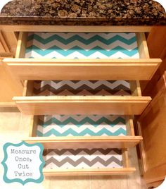 Easy way to transform your kitchen drawers from drab to FAB from Measure Once, Cut Twice.