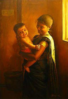 Tamil mother with her son - Painting by S. Elayaraja (www.elayarajaartgallery.com)