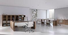 Muebles de oficina modernos de la serie Serena con acabados en madera natural, diseñados por Estelles design. Mueble moderno para despachos direccionales.