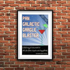 The Pan Galactic Gargle Blaster is considered by The Hitchhikers Guide to the Galaxy as the best drink in existence, you should never drink more than two, unless you are a thirty ton mega elephant with bronchial pneumonia.  This print was hand drawn in nankin pen and then digitally colored. The colors shown in this listing are an approximation of the printed version. Once you download and open the files, the colors that will be shown on screen are brighter than the printed results. INSTANT…
