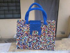 Beads bags made in Ghana Achimota - image 2 Peyote Beading, Beaded Bags, Recycled Crafts, Selling Online, Ghana, Bag Making, Straw Bag, Recycling, Arts And Crafts