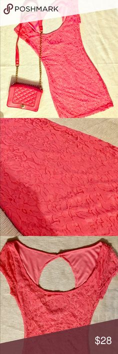 Coral Pink Flower Lace Dress🌸 S Coral Pink Flower Lace Dress🌸 S. Flower design Lace over solid Coral material. Perfect Condition Charlotte Russe Dresses Mini