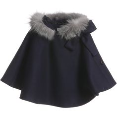 I'm not sure on the fur trim, but the style of the cape and the colour is lovely! This would make an amazing little girls cape! Dior Navy Blue Fur Trim Cape