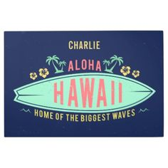 #Posters #Metal #Art - #Aloha Hawaiian Surfer custom name metal wall art