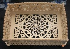 Center table tray, scroll saw fretwork pattern
