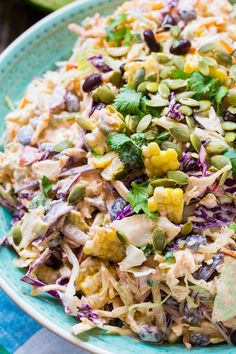 Mexican-style Coleslaw with corn, black beans, and taco seasoning.