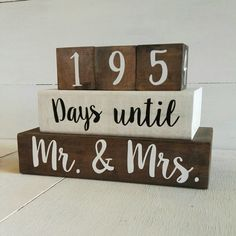 "Countdown. Wedding Countdown Blocks. Countdown until ""Mr. & Mrs."". Custom Blocks. Wedding Gift. Count down Blocks. Engagement gift by PaperPearNZ on Etsy https://www.etsy.com/au/listing/497380337/countdown-wedding-countdown-blocks"