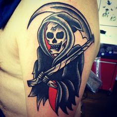 Traditional grim Reaper from the one and only @dan_crowe at hammersmith tattoo they don't come more old school and authentic than this right here