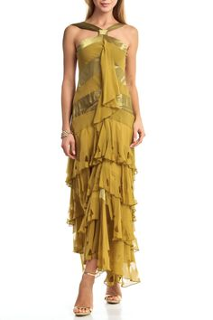 Issue New York - Waterfall Distressed Cocktail Gown in Olive
