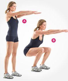 Squat: Body-Weight Squat - Health Magazine fitness perfect-body perfect-body health-and-fitness Fitness Workouts, Sport Fitness, Body Fitness, At Home Workouts, Fitness Tips, Lifting Workouts, Fitness Quotes, Squats Fitness, Body Quotes