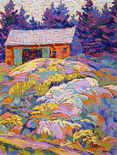 Landscape With Barn Lawren Harris, Canadian Group of Seven Tom Thomson, Emily Carr, Canada Landscape, Landscape Art, Landscape Paintings, Small Paintings, Art Paintings, Canadian Painters, Canadian Artists