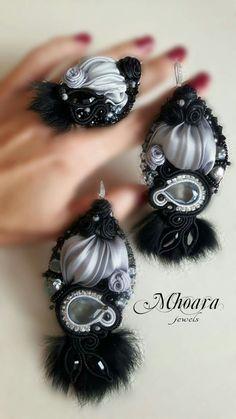'Grey & Black Fur' by Mhoara Jewels Shibori, Soutache Jewelry, Beaded Jewelry, Earrings Handmade, Handmade Jewelry, Silk Ribbon, Beaded Embroidery, Polymer Clay, Jewelry Accessories