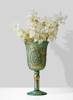The Verdigris Goblet Vase is an elegant piece that lends an air of sophistication to any gathering. If you would like your wedding or special event to have a refined touch, this stately vase will be the perfect addition to your centerpiece. Floral Wedding, Wedding Flowers, Copper Highlights, Vase Centerpieces, Vases, Candle Making, Scented Candles, Floral Arrangements, Glass Vase
