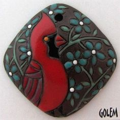 Cardinal... I PUT TOGETHER A GREAT NECKLACE WITH THIS FOCAL BEAD!