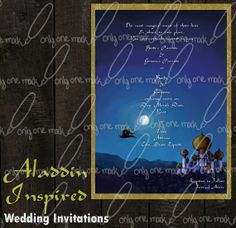 Invitation Set Disney's Aladdin Inspired by OnlyOneMarkINC on Etsy, $45.00