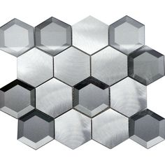 Gray Aluminum Glass Hexagon Modern Mosaic Tile Metallic Backsplash Kitchen Wall #Modket Modern Mosaic Tile, Glass Mosaic Tile Backsplash, Hexagon Mosaic Tile, Kitchen Backsplash, Mosaic Glass, Grey Glass, Metallic, Gray, Kitchen Designs