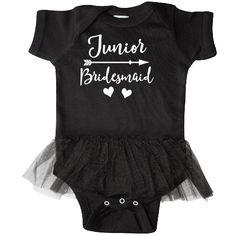 Jr Bridesmaid wedding Infant Tutu Bodysuit has cute bridal party matching design with arrow and hearts. $26.99 www.bridetobetees.com