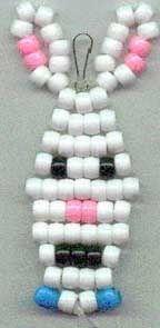 Bunny Beadie 3 Pony Bead Patterns, Beading Patterns Free, Free Pattern, Pony Bead Animals, Beaded Animals, Pony Bead Crafts, Pony Beads, Keys, Projects To Try