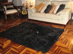Schwarzer Alpaka Fellteppich, aus den Anden Perus