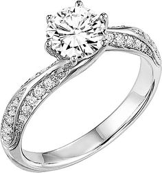 "ArtCarved ""Lily"" Diamond Engagement Ring  : This diamond engagement ring setting by ArtCarved features round brilliant cut diamonds pave set along the shank leading up to the center stone of your choice."