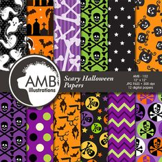 80%OFF Halloween digital paper Pumpkin papers by AMBillustrations