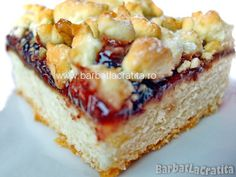 Prajitura Linzer cu gem si nuca Romanian Desserts, French Toast, Sweet Treats, Cheesecake, Food And Drink, Cookies, Breakfast, Traditional, Candy
