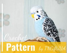 Crochet budgie pattern Tutorial PDF Amigurumi lovebird Cockatiel stuffed animal Crochet Decor Blue bird with flexible paws uniqe home decor