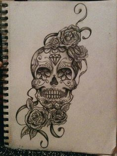 B&W Sugar Skull - have coloured hibiscus flowers instead. (Placement: thigh)