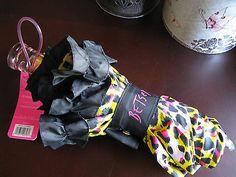 New-Betsey-Johnson-Designer-Brand-Pink-Black-Cheetah-Print-Umbrella-w-Ruffle
