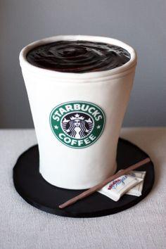 Cup of Starbucks coffee cake art ..Yep, it's a cake