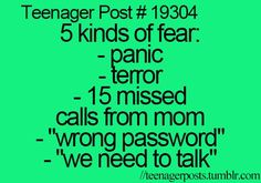 Teenager Posts; 5 kinds of fear