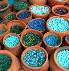 Turquoise beads. Turquoise is not a color for the faint of heart. It's just too lively for some.