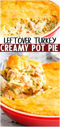 Turkey pot pie made with tender bits of turkey & vegetables in a creamy gravy topped with a crisp golden pie crust. Easy comfort food recipe to make that's perfect for using up leftover turkey! #turkey #leftover #potpie #comfortfood #easydinner #easyrecipe from BUTTER WITH A SIDE OF BREAD Turkey Pie, Easy Turkey Pot Pie, Moist Turkey, Turkey Pasta, Turkey Chicken, Leftovers Recipes, Recipes With Leftover Turkey, Cooked Turkey Recipes, Dinner Recipes