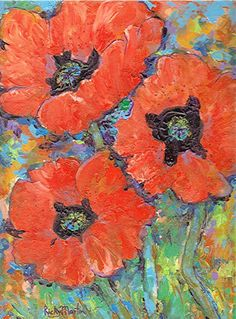Poppy Acrylic brush/knife painting RickyArtGallery