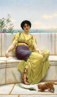 John William Godward (British painter) 1861 - 1922  Idleness, 1900  oil on canvas  111 x 73 cm. (43.75 x 28.75 in.)  signed and dated l.l.: J. W. Godward 1900  private collection