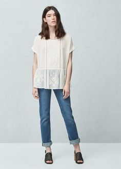 Blusa peplum calada - Camisas de Mujer   OUTLET España