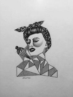 Pin up,geometric tattoo design