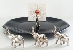 The Elephants on the Roam Silver Figurine Place Card Holders (Set of 4): Vintage Serving on Etsy, $32.00