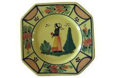 """The Emporium Ltd.,  Quimper French Faience Plates, Pair - One is a Breton man and the other a woman. Marked """"HB Quimper France."""" 8.5"""" L x 8.5"""" W x 0.8"""" H  $125"""