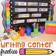 Writing Center Freebie (family word cards, event word cards, and fancy paper) - Pocket of Preschool