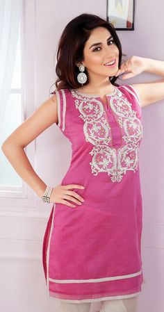 USD 40.53 Pink Cotton Embroidered Kurti 31558
