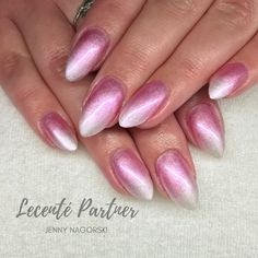Lecente Pink & White Ombré Powders with CND Shellac White Ombre, Pink White, Neon Acrylic Nails, Shellac Nails, Pink Cat, Chrome, Polish, Photo And Video, Vitreous Enamel