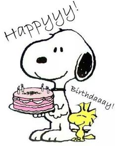 Happy Birthday - Snoopy Holdings a Pink Decorated Cake With Woodstock Standing Next to Snoopy